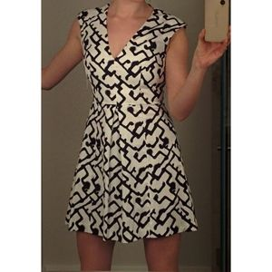 French Connection Black & White Mini A-line Dress